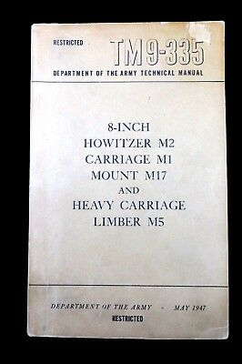 WWII US ARMY - TM Technical Guide - 8-Inch Howitzer - dated May 1947 (1391)