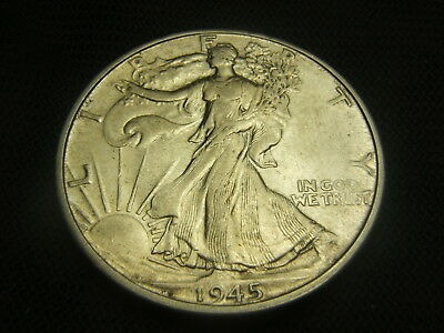 1945-D Walking Liberty Half Dollar 90% silver US Type AU mint luster