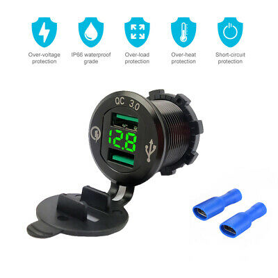 Motorcycle Boat Car Dual USB Fast Charger LED Voltmeter For Phone Tablet MA1802