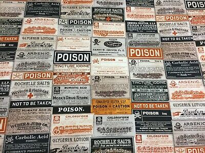 HALLOWEEN Tim Holtz Vintage Antique Apothecary Bottle Labels Label Fabric BTHY