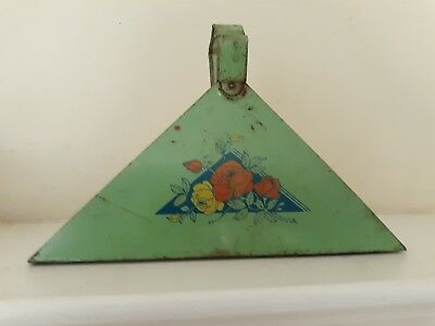 Antique/Vintage Early 1900's Green w. Floral Tin Handled Napkin Holder U.S.A.