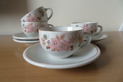 4 x BOOTS HEDGE ROSE TEA CUPS & SAUCERS EXCELLENT COND
