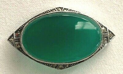 Antique Art Deco German Chrysoprase, Sterling and Marquisette Broach