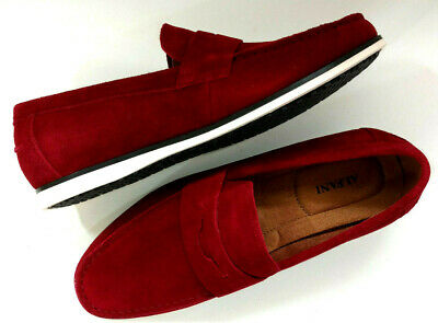 678dba5f984 Alfani Mens Dress Loafer Shoes Brick Red Suede Leather Drivers Slip On  Casual