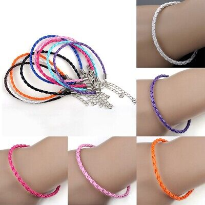 10 Pcs Unisex Women Men Leather Rope Bracelet Braided Charm Cuff Bangle Jewelry