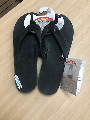 4e8dc7151a54 Rainbow Women s 301 ALTS Leather Upper Black Thong Sandals Size 8.5-9.5
