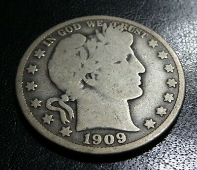 Better Date 1909O BARBER Half Dollar Coin Big 90% SILVER Scarce New Orleans Mint