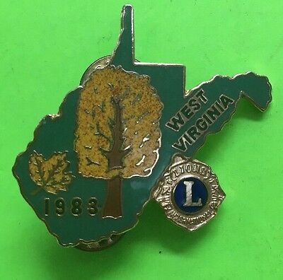 🦁 Vtg West Virginia Lions Club Pin 1983 Featuring  Shape Of Wv & State Tree  🦁