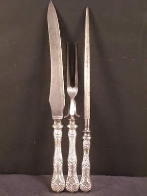 19c Victorian Whiting Sterling Silver Flatware Repousse Carving Knife Fork Set 3