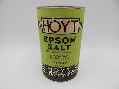 Vintage Hoyt Epsom Salt 1 Pound Can Tin FULL Medical Supply