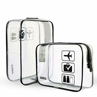 Clear Toiletries Bag Aeroplane Holiday Travel Cosmetic Bags Hand Luggage 2 Pack