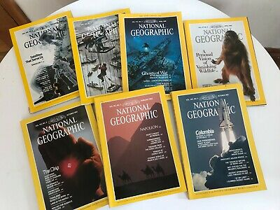 National Geographic Magazine Bundle 7 Issues From 1981 - 1990