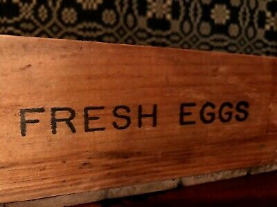Antique Primitive Farm Chicken Wood Fresh Eggs Box Crate AAFA Garland, Maine