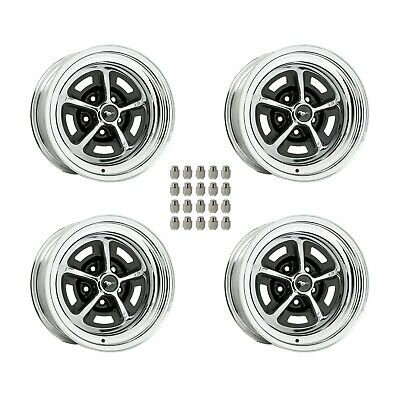"""Magnum 500 Wheels Kit with Black Mustang Wheel Caps and Lug Nuts 15""""X8"""""""