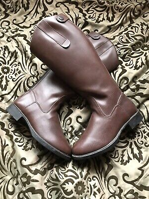 Bargain Brown Long Riding Boots Size 1 Normal  Calf
