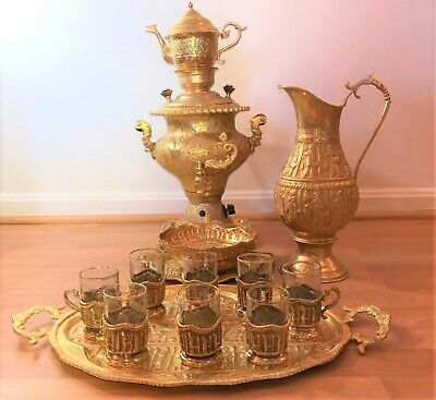 New Electric Antique Persian Gold Plated 7 piece Samovar and Tea Set -Serving 8
