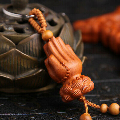 Buddha Kwan Yin Hand Wood 3D Carving Chinese Pendant Key Chain Keyring Craft QU