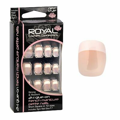 Royal 24 Glue On French Manicure False Nail Tips with 3g Glue - Short Square