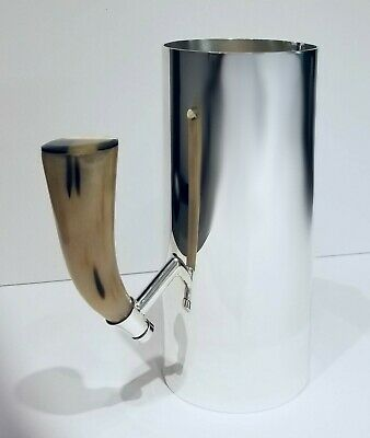 """Plata Lappas Silver Plated Martini Pitcher With Natural Horn Handle 4""""D x 8¾""""H"""