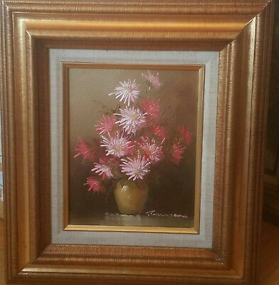 """GOLD WOOD FRAME VINTAGE FLORAL OIL PAINTING 8"""" x 10"""" BOARD SIGNED ROBERT COX"""