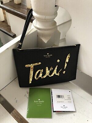 Kate Spade New York TAXI On Purpose leather wristlet Clutch Bag Black NWT NEW
