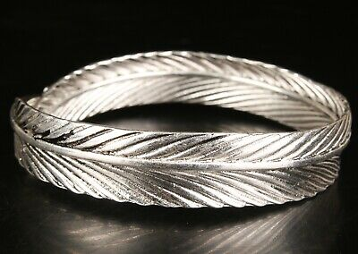 China Tibetan Silver Hand Carving Leaf Bracelet Jewelry Gift Collection