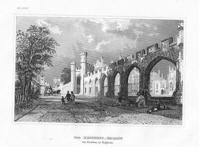 1850 - Bischofspalast County Durham Great Britain engraving Original Stahlstich