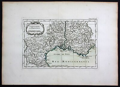 1764 - Provence Marseille Narbonne sea chart Bellin map carte gravure