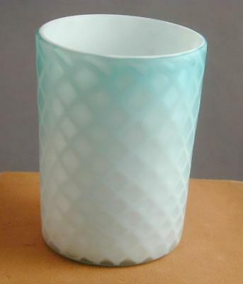Antique Blue/Turquoise/White Diamond Quilted Satin Glass Tumbler  3 ½""