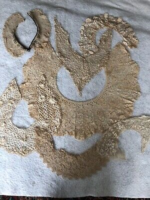 Lot Of 7 Beautiful Antique Lace Collars-Various Kinds Of Lace- Delicate - #1