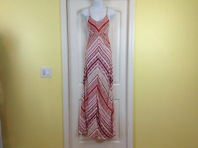 1cb1d3fbe9e00 NWT Lagaci Womens Size Large Tall Pink Yellow Cream Spaghetti Strap Maxi  Dress