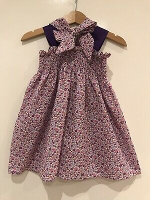 5b68eb464c0 Baby Girl Purple Floral Elasticated Sundress With Headscarf Handmade Size  12 M