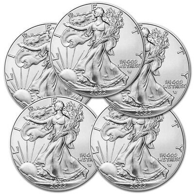 x5 SILVER EAGLE 2019 1$ ONCE ARGENT PUR 999 ETATS UNIS USA OUNCE OZ LOT