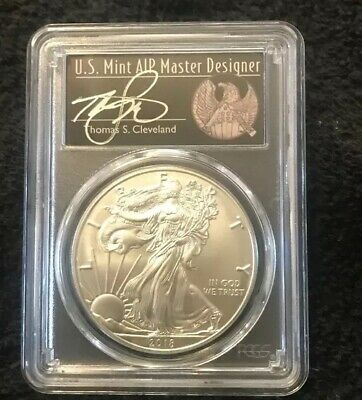2018 W Pcgs Sp70 Burnished Silver Eagle Cleveland Freedom Fdoi $1 Coin American