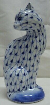 Hand Painted Herend style Blue fishnet Porcelain Cat figurine