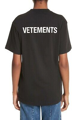 c7a832f3c405 NWT Vetements Authentic Women Men Black Logo Staff Basic Tee T Shirt SMALL