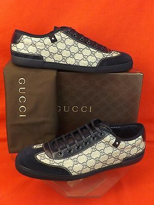 1f041bdc5 Nib Gucci Navy Suede Gray Guccissima Canvas Lace Up Sneakers 14.5 15.5 $465