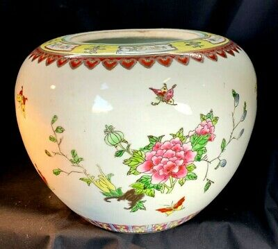 Vintage Chinese Famille Rose Porcelain Jardiniere With Enameled Butterflies