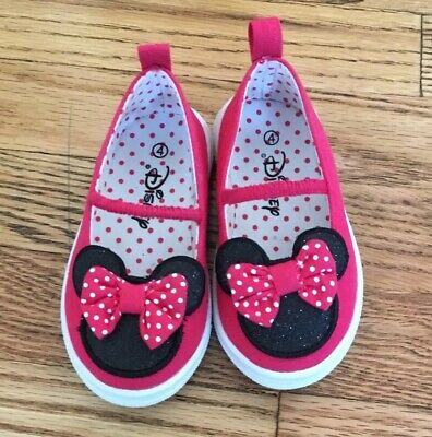 Disney Baby Toddler Shoes Size 4 Mickey Minnie Mouse Slip On