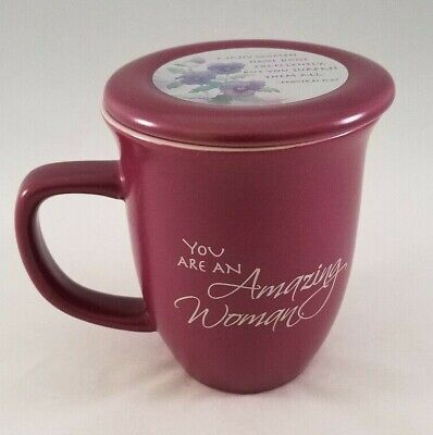 Ceramic Mug You are an Amazing Woman Abbey Gift Burgundy Lid Proverbs 31:29