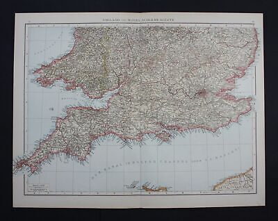 1890 - Wales Surrey Suffolk Great Britain Großbritannien Karte map Lithographie