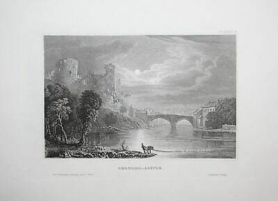 1850 - Barnard Castle Durham England United Kingdom engraving antique print