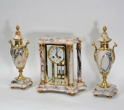 Japy Freres Antique Ormolu and Specimen Marble Four Glass Crystal Clock Set 1880