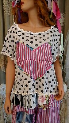 UpCycled 2X Tshirt Polka Dot Vintage Lace Heart Off The Shoulder Top Boho tmyers
