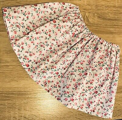 Baby Girl Pink Floral Elasticated Skirt Handmade Size 12-24 Months