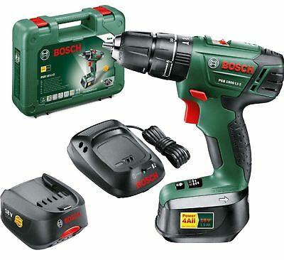 """Bosch PSB 1800 LI-2 Cordless Combi Drill With: """"Two 18 V Lithium-Ion Batteries"""""""