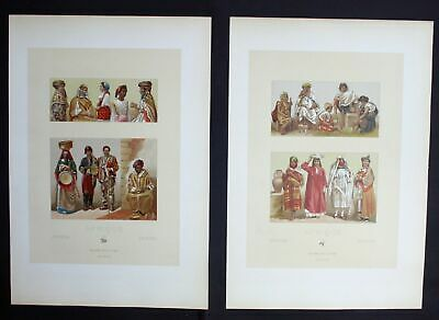 1880 - Algeria Egypt Tunesia Tracht costumes Africa Lithographie lithograph
