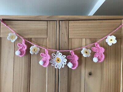 Easter Bunting Bunny Garland Handmade Crochet Washable Kids Bedroom Decor 23inch
