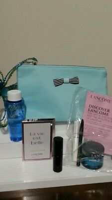 Lancome 7-Piece Gift Set - Turquoise Bag + Skin Care + Makeup + more Cute!