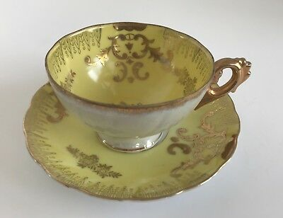 Royal Sealy Yellow and Gold Iridescent Footed Teacup and Saucer